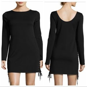 McQ Alexander McQueen LBD black side lace up dress